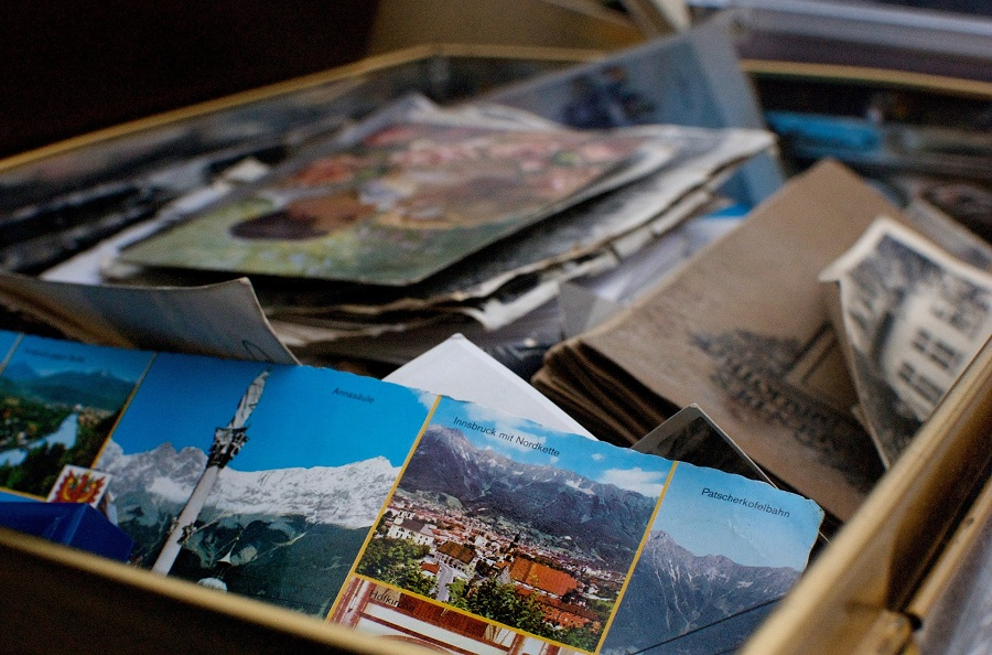 box with postcards