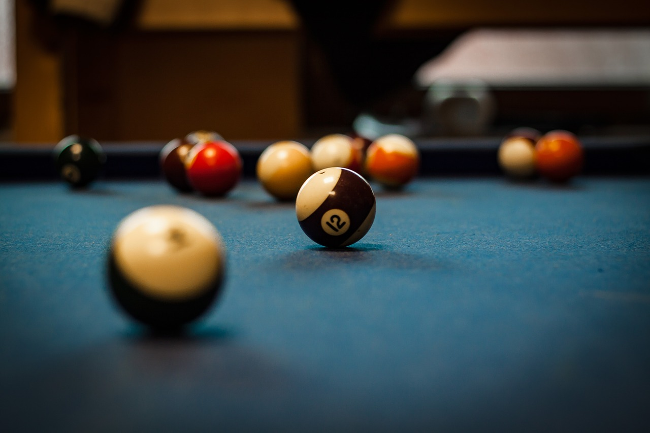 close up shot of pool balls
