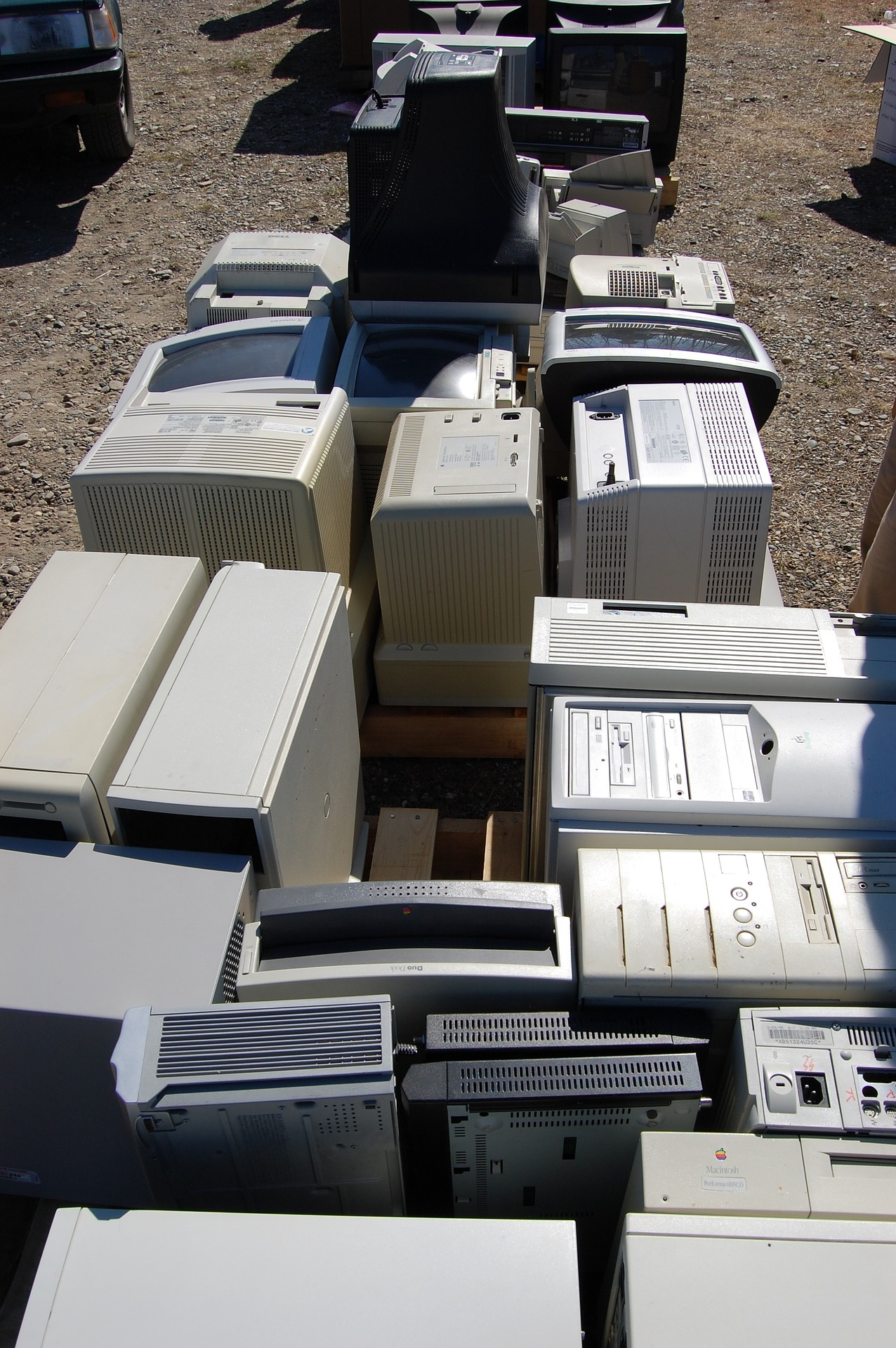 pile of old computer towers