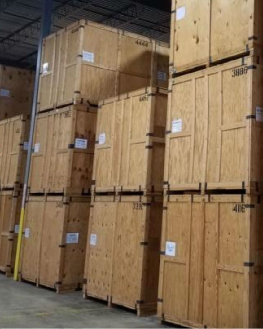 stacked storage crates in the warehouse