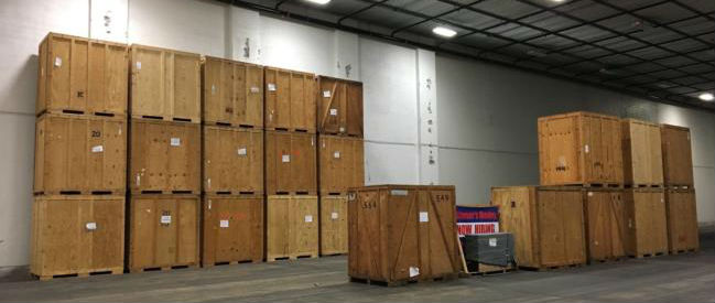 wooden storage crates in warehouse