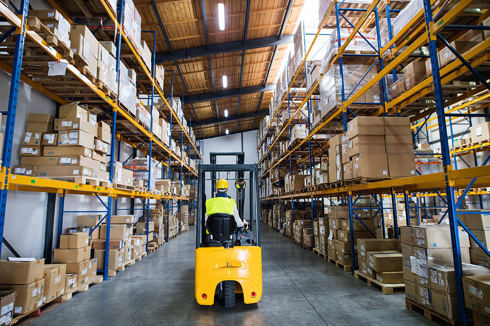 Forklift in an On-Demand Storage Warehouse
