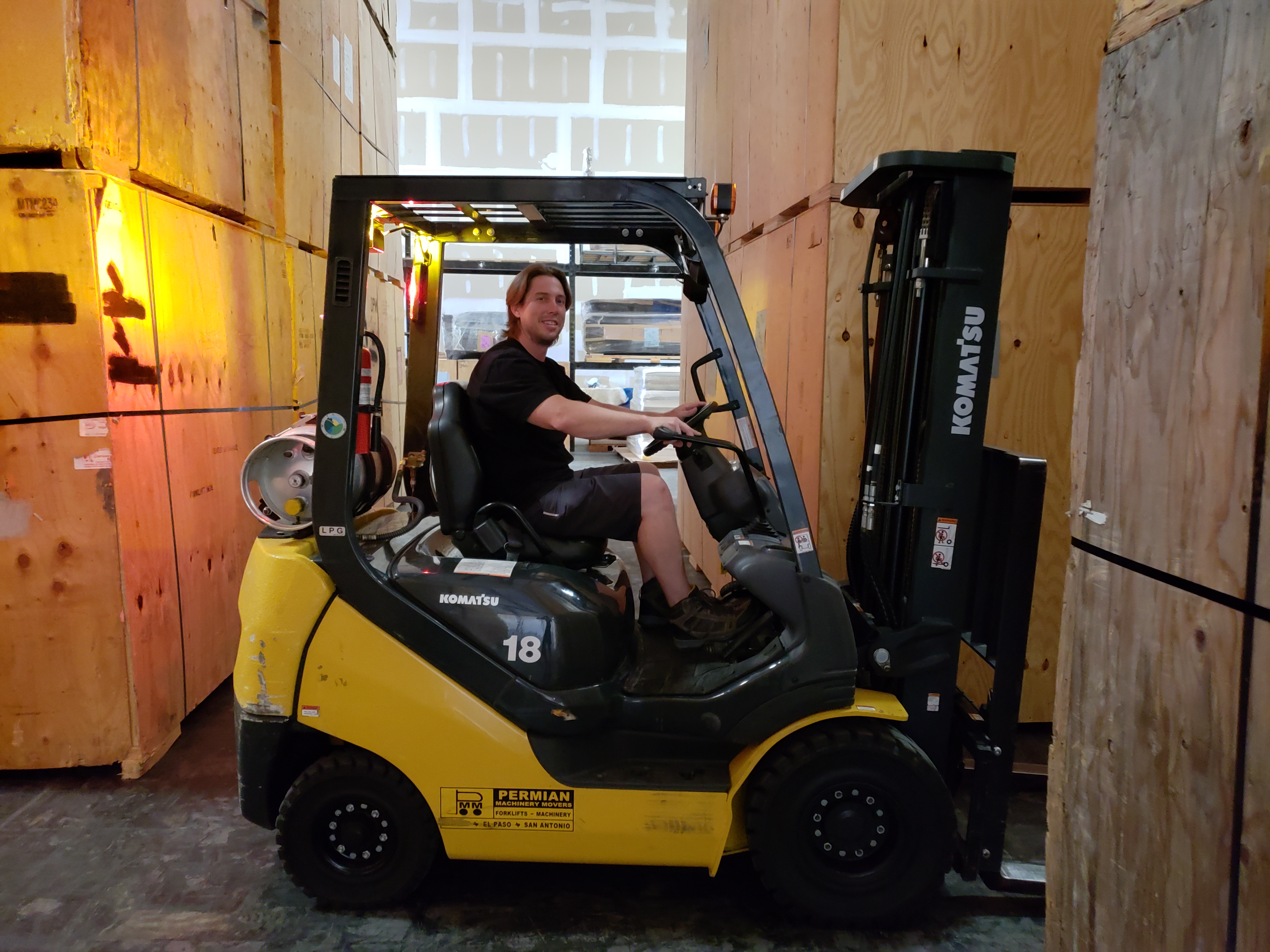 employee on forklift